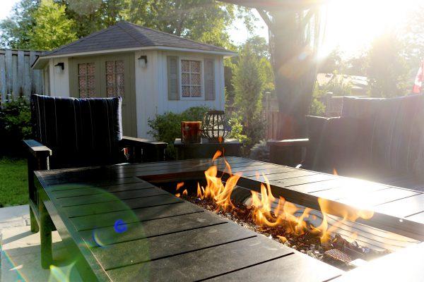 outside gas fireplace